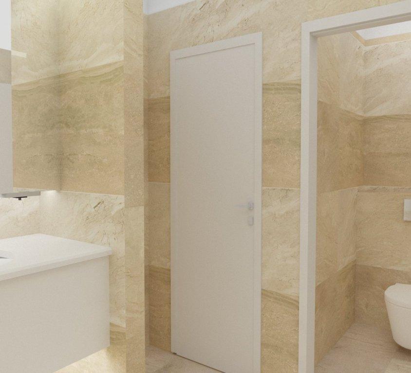 WC interjeras biuro – įstaigos patalpose